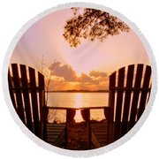 Sit Down And Relax Round Beach Towel