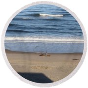 Round Beach Towel featuring the photograph Sittin And Thinkin  by Marie Neder