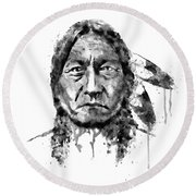 Round Beach Towel featuring the mixed media Sitting Bull Black And White by Marian Voicu