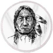 Sitting Bull Black And White Round Beach Towel