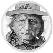 Sitting Bull Round Beach Towel by Lawrence Tripoli