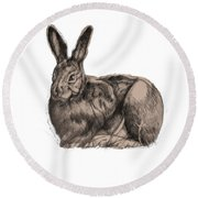 Sitting Bunny Jan 2017 Round Beach Towel