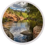 Round Beach Towel featuring the photograph Sitting Creekside Oak Creek  by Saija Lehtonen