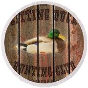 Sitting Duck Hunting Club Round Beach Towel