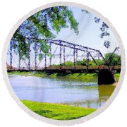 Round Beach Towel featuring the photograph Sitting In Fort Benton by Susan Kinney