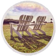Round Beach Towel featuring the photograph Sitting In The Sun by Debra and Dave Vanderlaan