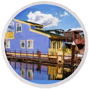 Sitting On The Dock Of The Bay Round Beach Towel