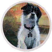 Sitting Pretty - Black And White Puppy Round Beach Towel