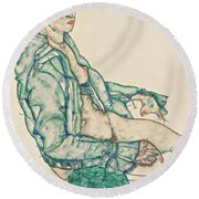 Sitting Semi-nude With Blue Hairband Round Beach Towel
