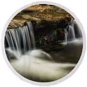 Round Beach Towel featuring the photograph Sitting Under The Waterfall  by Saija Lehtonen