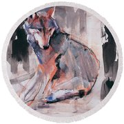 Sitting Wolf Round Beach Towel by Mark Adlington
