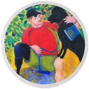 Round Beach Towel featuring the painting One Team Two Heroes-4 by Donald J Ryker III