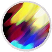 Round Beach Towel featuring the painting Sivilia 1 Abstract by Donna Corless