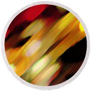 Round Beach Towel featuring the painting Sivilia 11 Abstract by Donna Corless