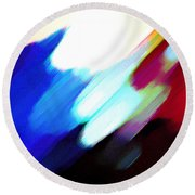 Round Beach Towel featuring the painting Sivilia 12 Abstract by Donna Corless