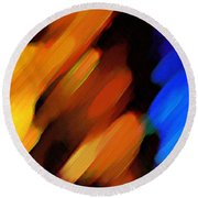 Round Beach Towel featuring the painting Sivilia 3 Abstract by Donna Corless