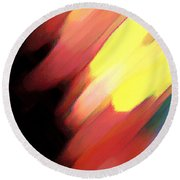 Round Beach Towel featuring the painting Sivilia 9 Abstract by Donna Corless