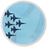 Six Blue Angels In The Clear Blue Sky Round Beach Towel