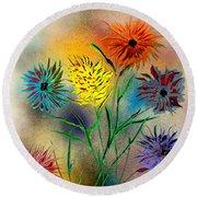 Six Flowers - E Round Beach Towel