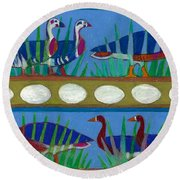 Round Beach Towel featuring the painting Six Geese-a-layin by Denise Weaver Ross