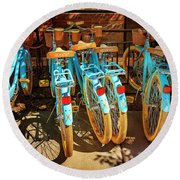Round Beach Towel featuring the photograph Six Huffy Bicycles by Craig J Satterlee