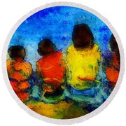 Six On The Shore  Round Beach Towel