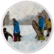 Six Sledders In The Snow Round Beach Towel