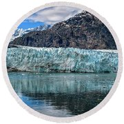 Round Beach Towel featuring the photograph Size Perspective No Margerie Glacier by John Hight