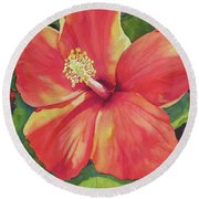 Round Beach Towel featuring the painting Sizzle by Judy Mercer