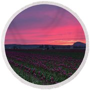 Round Beach Towel featuring the photograph Skagit Valley Burning Skies by Mike Reid