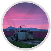 Round Beach Towel featuring the photograph Skagit Valley Dusk Calm by Mike Reid