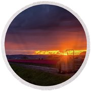 Round Beach Towel featuring the photograph Skagit Valley Tractor Sunstar by Mike Reid