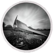 Round Beach Towel featuring the photograph Skate Ramp Pinhole Photo  by Will Gudgeon