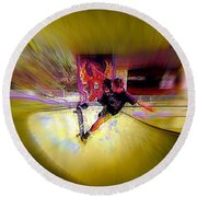 Round Beach Towel featuring the photograph Skateboarding by Lori Seaman