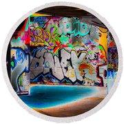 Skatepark Graffiti Southbank 3 Round Beach Towel