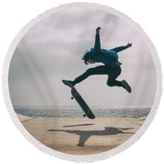 Skater Boy 003 Round Beach Towel