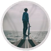 Skater Boy 005 Round Beach Towel