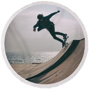 Skater Boy 007 Round Beach Towel
