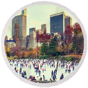 New York Central Park Round Beach Towel
