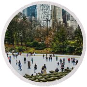 Skating At Central Park Round Beach Towel by Sandy Moulder