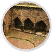 Skc 3278 The Ancient Courtyard Round Beach Towel by Sunil Kapadia