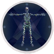 Round Beach Towel featuring the digital art Skeletal System by Iowan Stone-Flowers