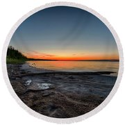 Round Beach Towel featuring the photograph Skeleton Lake Beach At Sunset by Darcy Michaelchuk