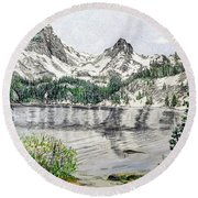 Round Beach Towel featuring the painting Skelton Lake by Kevin Daly