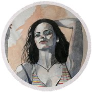 Round Beach Towel featuring the painting Sketch For Lucy by Ray Agius