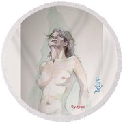 Round Beach Towel featuring the painting Sketch For Megan Iv by Ray Agius
