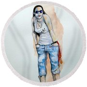 Round Beach Towel featuring the painting Sketch For Meh by Ray Agius