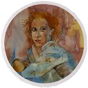 Round Beach Towel featuring the painting Sketch For Sarah by Ray Agius
