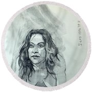 Round Beach Towel featuring the painting Sketch For Sera.10.01 by Ray Agius