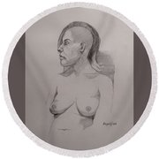 Round Beach Towel featuring the drawing Sketch For Sitting Cassie by Ray Agius